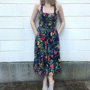 Vintage black floral halter top dress